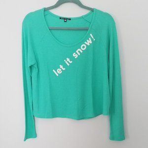 Wildfox Let It Snow Bright Green Thermal Top S